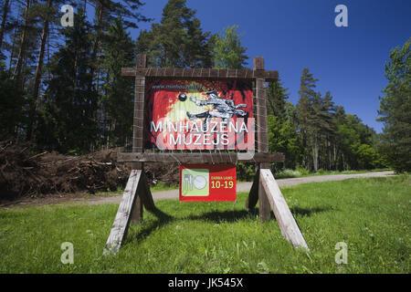 Letonia, al noreste de Letonia, Vidzeme, Región Costa Dunte, Break del Barón Karl von Munchausen, escritor de historias fantásticas, signo