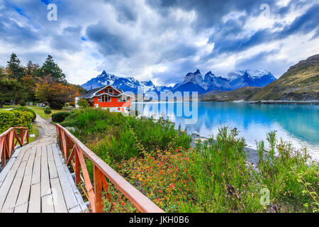 Parque Nacional Torres del Paine, Chile. El Lago Pehoé. Foto de stock