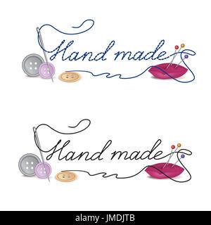 Aguja con pasta hecha a mano. Accesorios de coser botones en un fondo blanco. Ilustración vectorial.