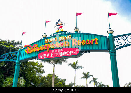 Letreros, la entrada de Disneyland Hong Kong Disneyland