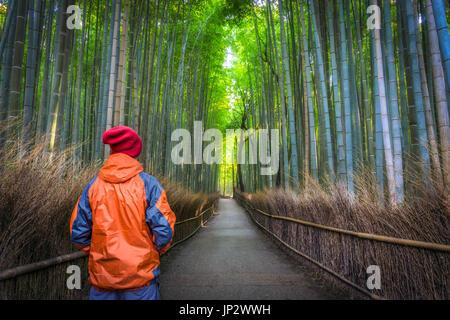 Hombre viajero solo solos en un bosque de bambú en Kyoto, Japón, vistiendo ropa de invierno, naranja y rojo. Foto de stock