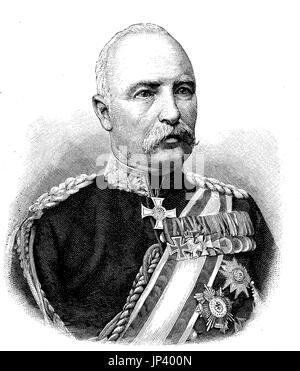 Barón Friedrich Karl Walter von Degenhard Loe, 1828-1908, era un soldado prusiano y aristócrata, Alemania, fue un comandante general del 8º Cuerpo de Ejército, mejor reproducción digital de una xilografía publicación desde el año 1888