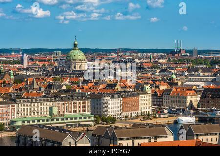 Vista aérea del centro de la ciudad de Copenhague, Dinamarca