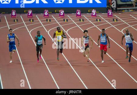 Londres, Reino Unido. El 5 de agosto, 2017. Rey Usain Bolt en la sexta serie de 100m en el Campeonato Mundial de la IAAF en 2017, Queen Elizabeth Olympic Park, Stratford, London, UK Credit: Laurent Lairys/Agence Locevaphotos/Alamy Live News