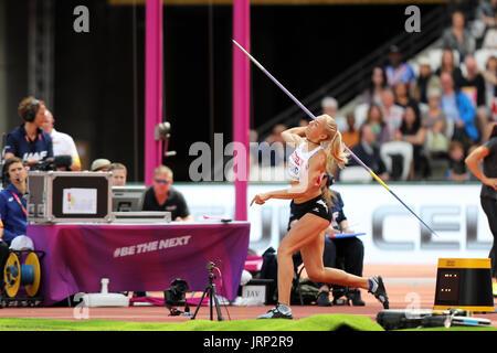 Londres, Reino Unido. 6 de agosto de 2017. Ivona DADIC de Austria competir en el Heptathlon Javelin throw en el 2017, Campeonatos Mundiales de la IAAF, Queen Elizabeth Olympic Park, Stratford, Londres, Reino Unido. Crédito: Simon Balson/Alamy Live News