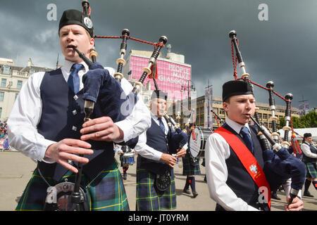 George Square, Glasgow, Escocia, Reino Unido. 7 de agosto, 2017 Canalizaciones En Vivo! - El Festival Internacional Foto de stock