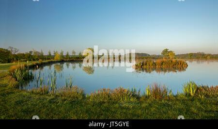 Vista panorámica del paisaje rural al amanecer con gruesas estanque rodeado de vegetación verde y oro bajo un cielo azul en la campiña inglesa