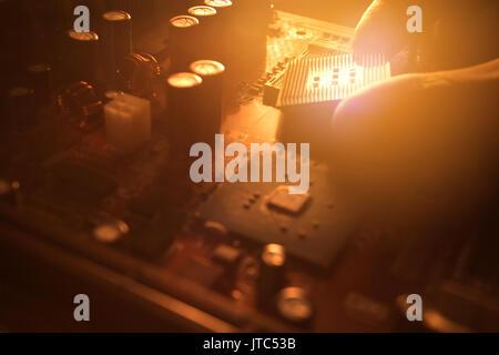 Tapón técnico en cpu microprocesador al zócalo de la placa madre