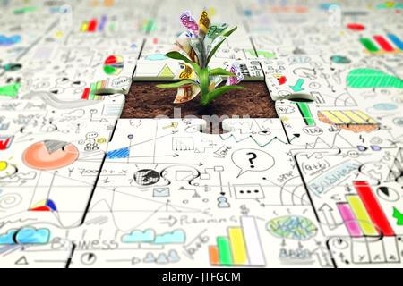 Planta con dinero crece a partir de una pieza faltante del rompecabezas