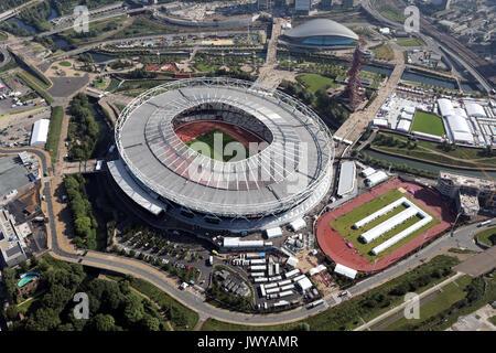 Vista aérea del estadio de Londres, el Queen Elizabeth Park, Londres, Reino Unido. Foto de stock