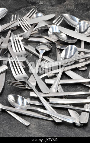 Cubiertos cuchara cuchillo tenedor Foto de stock