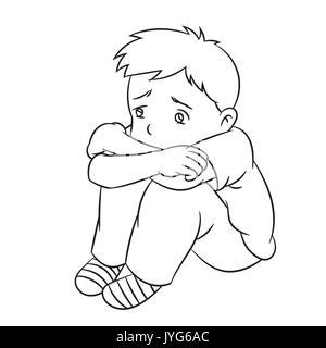 Caricatura de un muchacho triste y solitario niño o estudiante. Ideal para catálogos, informativos, material educativo e institucional