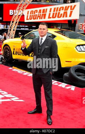 Channing Tatum asistiendo al Logan Lucky UK Premiere celebrada en Vue West End en Leicester Square, Londres. Foto de stock