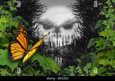 La destrucción del medio ambiente y la contaminación del hábitat natural ecológico como una mariposa mirando a una Foto de stock