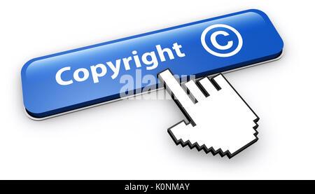 Símbolo de copyright y el icono concepto con el cursor de mano al hacer clic en un botón web azul 3D ilustración sobre fondo blanco.