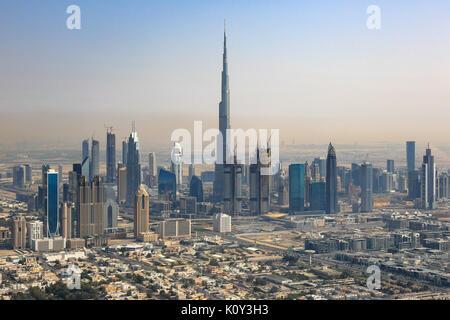 Downtown Burj Dubai skyline vista aérea fotografía eau Foto de stock
