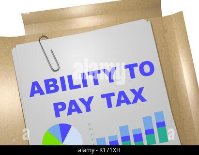 """Ilustración 3D de la """"capacidad de pagar impuestos"""" Título de documento"""