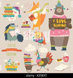 Conjunto de animales de dibujos animados leyendo libros