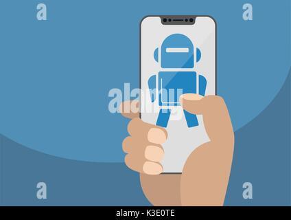 Mano sujetando el bisel moderno smartphone libre. Muestra el icono del robot en la pantalla táctil como concepto Foto de stock