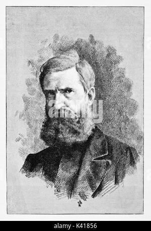 La antigua cerca de retrato de un hombre con una larga barba. Nicola Fabrizi (1804 - 1885) retrato grabado antiguo patriota italiano. Por E. Matania publicado el Garibaldi e i suoi Tempi Milán Italia 1884 Fabrizi
