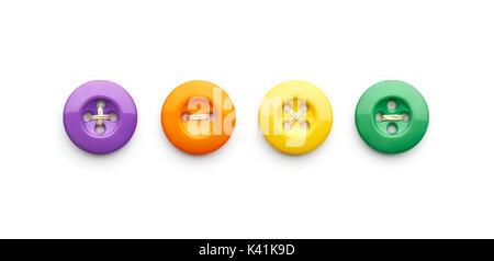 Símbolos matemáticos y cosiendo botones aislado sobre fondo blanco.