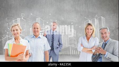 Compuesta Digital de antiguos empresarios delante del boceto de la ciudad
