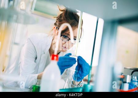 Atractiva estudiante de química en el laboratorio de trabajo