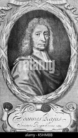 John RAY (1627-1705) clérigo naturalista inglés en un corte de madera de 1693