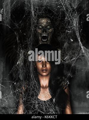 Ilustración 3d de miedo mujer fantasma detrás de la chica,horror antecedentes,mixed media