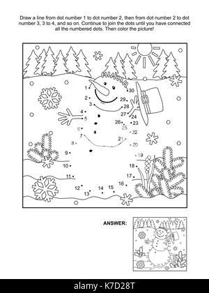 Vacaciones de invierno conectar los puntos temáticos rompecabezas de ...