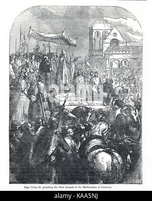 El papa Urbano II, iniciando la primera cruzada, el 27 de noviembre de 1095