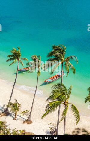 Playa Paraíso en una isla tropical. Parque Nacional Marino Ang Thong,Tailandia. Vista superior