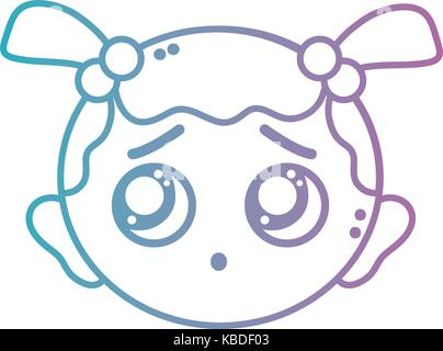 Línea baby girl cabeza con peinado design