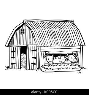 Ilustración De Dibujos Animados Animales De Granja De Vacas