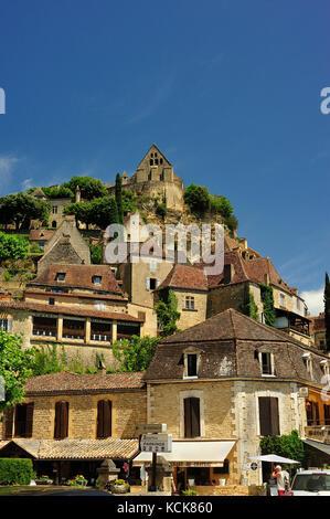 Beynac con el Castillo de Beynac, Dordogne Département, Aquitania, Francia