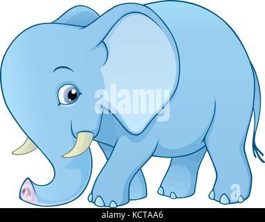 Cartoon vectores de una adorable bebé elefante