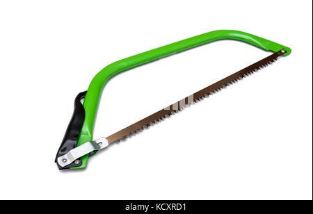 Sierra de arco, herramientas de mano para el aserrado de la madera aislado sobre fondo blanco.