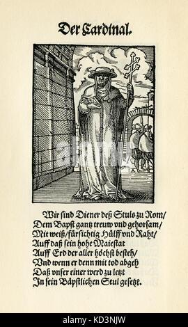 El Cardenal (der Cardinal), del Libro de las Trades / Das Standepauch (Panoplia omnium illiberalium mechanicarum...), Colección de cortes de madera de Jost Amman (13 de junio de 1539 - 17 de marzo de 1591), 1568 con la rima acompañante de Hans sachs (5 de noviembre de 1494 - 19 de enero de 1576)
