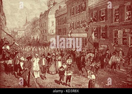 Lenten carnaval, Filadelfia, América colonial, 1700. Ilustración de Howard Pyle, 1901