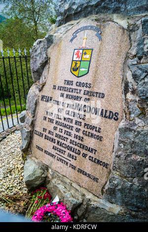 Glencoe masacre memorial, 1883, Glencoe, Argyll and Bute, Escocia