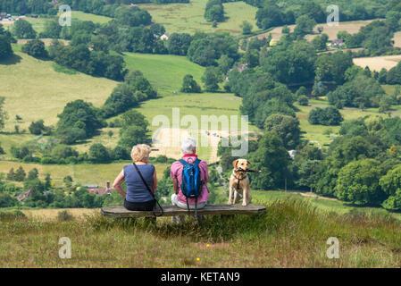 Caminar por las colinas de Malvern, Worcestershire, Inglaterra
