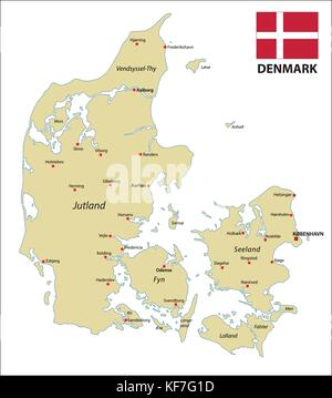 Dinamarca mapa con bandera