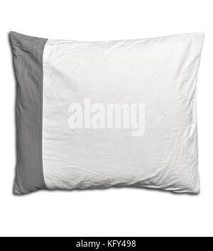 Gris y blanco almohada de una cama aislado en blanco con sombra suave Foto de stock