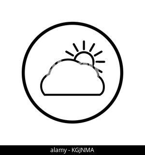 Vector de nube y sol icono en línea Circle, símbolo icónico dentro de un círculo, sobre fondo blanco, para el clima de firmar concepto. vector diseño icónico.