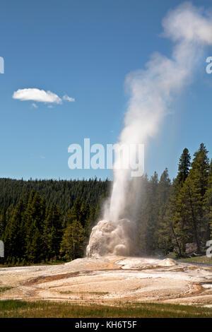Wy02602-00...Wyoming - una erupción de Lone Star geyser en el parque de Yellowstone National Park. Foto de stock