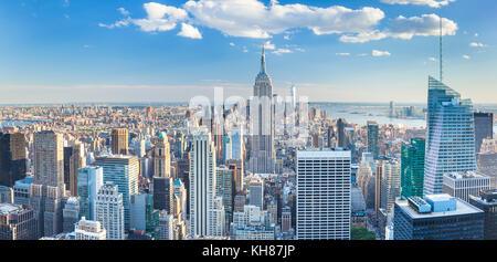 Perfil de Manhattan, Nueva York, el Empire State Building, de la ciudad de Nueva York Estados Unidos de América, América del Norte, Nueva York, Nueva York, EE.UU. Foto de stock