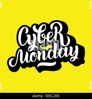 Cyber Monday, caligrafía de letras hechas a mano para el logotipo de fondo, títulos, etiquetas, insignias, grabados, Foto de stock