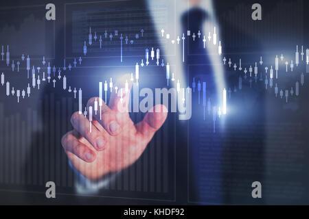 Dibujos y gráficos de fondo financiero, la bolsa concepto, inversionista analizar datos digitales