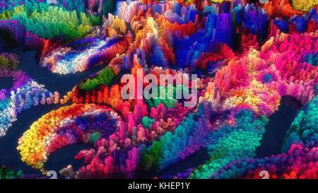 3D rendering topografía abstracta y colores.