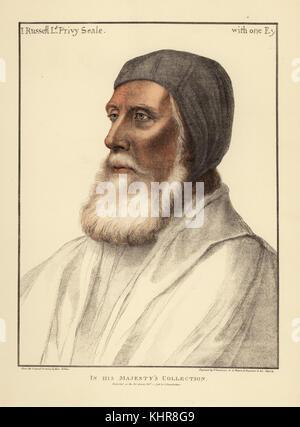 John Russell, primer Conde de Bedford, Lord Privy Seal y Lord Gran Almirante (1485-1555). Copperplate Handcolored Foto de stock